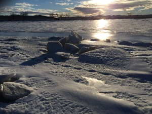 Frozen Yellowstone River shoreline at the oil spill site
